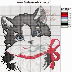 charming black and white cat cross stitch. red bow could have a bell sewn on to make it more three dimensional or give it green eyes to look more holiday Cat Cross Stitches, Cross Stitch Charts, Cross Stitch Designs, Cross Stitching, Cross Stitch Embroidery, Embroidery Patterns, Cross Stitch Patterns, Loom Patterns, Hand Embroidery