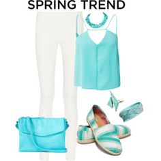 Aqua and White Casual Outfit for Summer and Spring