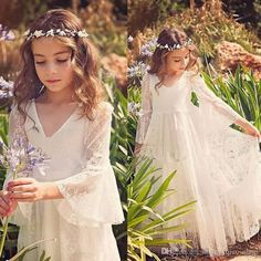 Cheap dresses dress up, Buy Quality dress case directly from China dress up pink girls Suppliers: 2017 White Lace Princess Communion Dresses for Girls Sheer Long Sleeves Boho Flower Girl Dress for Wedding Beach Pageant Dress Princess Flower Girl Dresses, Cheap Flower Girl Dresses, Wedding Flower Girl Dresses, Lace Flower Girls, Little Girl Dresses, Wedding Party Dresses, Cheap Dresses, Girls Bridesmaid Dresses, Pageant Dresses