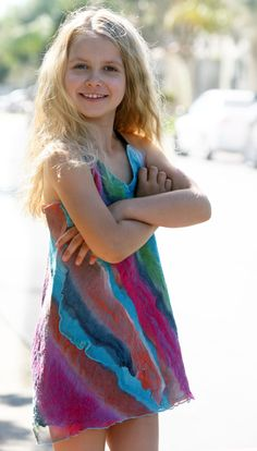 Nuno felted unique designer natural silk dress little girl OOAK art to wear dress special occasion children 5 - 7 year old summer dress blue