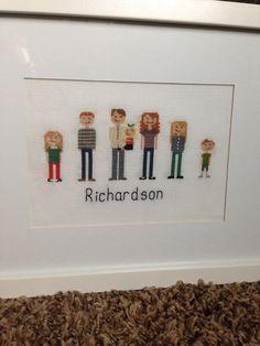 Cross Stitch Family Portrait (no frame) on Etsy, $30.00