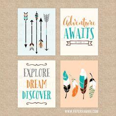 Woodland Nursery Art, Adventure Awaits Nursery Quotes, Feather Artwork, Arrow Art, Kids Room Art // Choose Art Print or Canvas // N-XW14-4PS