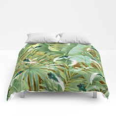 Golden Royal White and Blue-green Peacock Feathers Comforters by justkidding #Comforter #graphicdesign #leaves #peacockfeathers #green #darkgreen