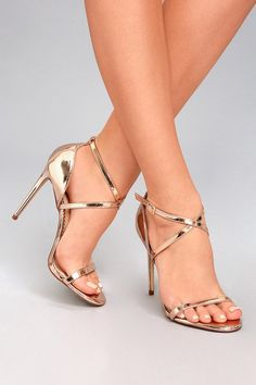 Trixy Rose Gold Patent Ankle Strap Heels 4