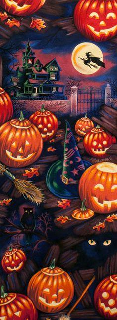 Alexander Henry Black Cats & Witches Hats by JeanMariesFabrics,  ☠Halloween GiF☠ ~ Ʀεƥɪи╭•⊰✿ © Ʀσxʌиʌ Ƭʌиʌ ✿⊱•╮