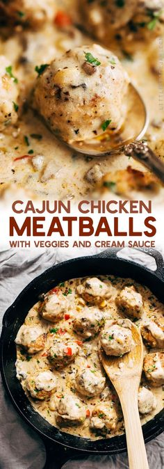 Cajun Chicken Meatballs in Tasty Cream Sauce - These meatballs are flavored with cajun seasoning and perfect to serve with garlic bread or egg noodles! So comforting! #cajunchickenmeatballs #chickenmeatballs #meatballs #creamsauce | Littlespicejar.com