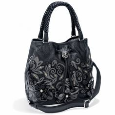 Catch The Moon Pearl Soft Bucket Bag  By Brighton-3 flowers/different centers