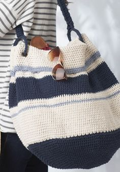 Crochet Bags Design Ravelry: Nautical Hobo Bag pattern by Bernat Design Studio - Crochet Hobo Bag, Crochet Beach Bags, Crochet Handbags, Crochet Purses, Crochet Bags, Knit Crochet, Nautical Crochet, Free Crochet Bag, Crochet Slippers