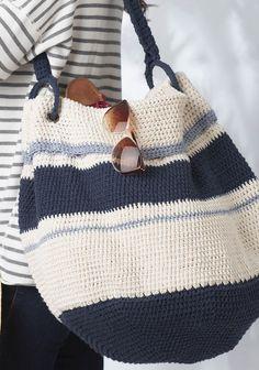 Nautical Hobo Bag - Free pattern. Crochet.