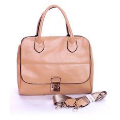 Retro Beige Middle Sized Handbag ($142) ❤ liked on Polyvore