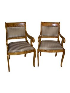 A Pair of Biedermeier Style Arm Chairs | LH Exchange | Fabric armchairs | Dinner chairs | Traditional
