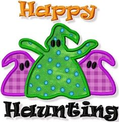 Happy Haunting Applique - 3 Sizes! | Halloween | Machine Embroidery Designs | SWAKembroidery.com Abigail Michelle