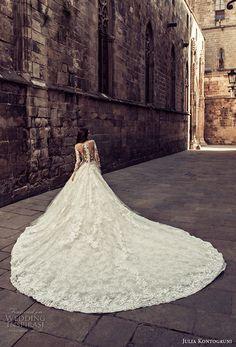 julia kontogruni 2018 bridal long sleeves illuson bateau sweetheart neckline full embellishment romantic princess ball gown a  line wedding dress sheer button back royal train (7) bv -- Julia Kontogruni 2018 Wedding Dresses
