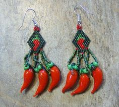Red Hot Pepper Earring Hand Made Seed Beaded by wolflady on Etsy