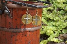 Rhinestone Cross on Metal Disc earrings from Forever Yours