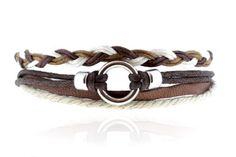 Pack bracelet brésilien, cuir et anneaux métallique
