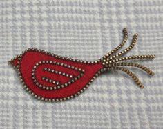 Zipper/Recycled Felted Wool Sweater Zipper Brooch/Pin- Red Zipper Bird