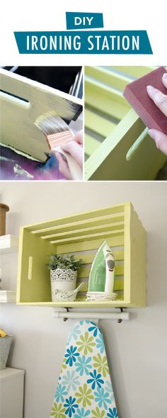 This DIY ironing station from Linda, of Craftaholics Anonymous, pairs style with function. The cheerful tones of That's My Lime provide a nice pop of bright color against the neutral gray background. Linda used a rustic wooden crate to provide organization and additional storage in her laundry room. Check out the full tutorial by clicking here. #closetorganization