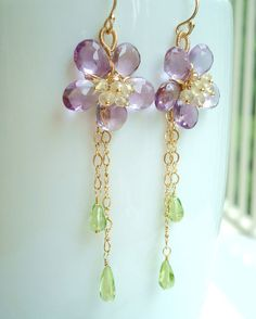 Lavender Amethyst Flower Earrings  Amethyst Lemon by emarcidorchid