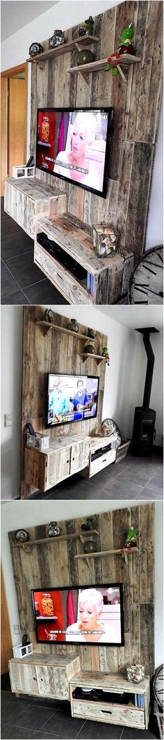 Now we are going to show you an idea which serves as TV stand as well as wall art, this idea is enough to copy for adorning a TV launch. There are shelves attached to the wall art for placing the decoration pieces. Pallet Home Decor, Wood Pallet Furniture, Pallet Crafts, Diy Pallet Projects, Wood Pallets, Home Projects, Diy Furniture, Pallet Ideas, Pallet Walls