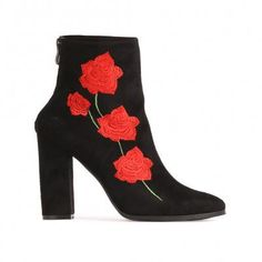 Romeo Rose Embroidered Ankle Boots in Black Faux Suede