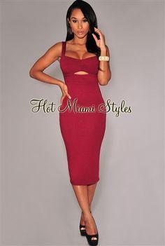 burgundy peep-hole padded midi dress  www.hotmiamistyles.com