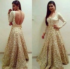 Cream and gold anarkali
