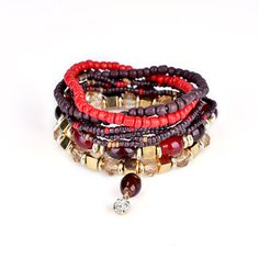 Women's Bohemian Bracelet Multilayer Beads Charming Bracelet