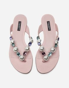 7a9249a5525214 Buy the bejeweled thong sandals for women in pink. Choose from our wide  selection on Dolce Gabbana.
