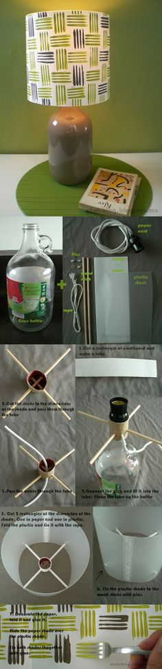 Recycled Wine Bottle and Paper Lamp