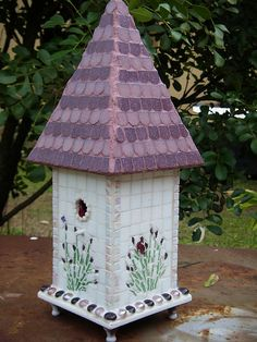 Lavender Cottage Mosaic bird house by floyfreestyle