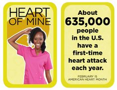 About people in the U.S have a first-time heart attack each year. Heart Disease Facts, Dental Scrubs, Same Day Delivery Service, Heart Month, People In The Us, Lab Coats, Nursing Dress, Wear Red, Heart Attack