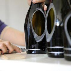 nino candle lantern by lucia bruni Wine Bottle Lanterns, Wine Bottle Tiki Torch, Wine Bottle Design, Wine Bottle Art, Diy Bottle, Wine Bottle Crafts, Candle Lanterns, Glass Candle, Cutting Glass Bottles