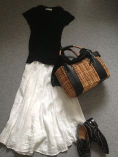 White skirt with black top.....updated and fresh summmer look
