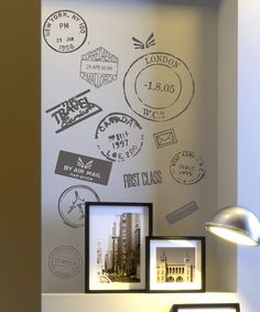 Travel stamp vinyl wall decals, would look great on poster board in a frame.
