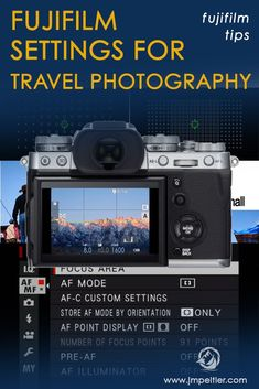 What are the best Fujifilm settings for travel photography? Here's a setup guide based on my recommendations. This setup guide is intended to work for all Fujifilm cameras, like the and so on. Photography Camera, Photography Tips, Instax Printer, Fuji Camera, Photography For Beginners, Camera Settings, Travel Photographer, Fujifilm, Video