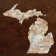 Michigan collage 8x10 print (matte lustre). $24.00, via Etsy. Love the shop name - Sparklepants!!!