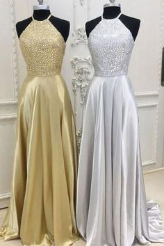 Prom Dress Princess, Sexy Slit Gold Prom Dress,Slit Silver Graduation Dress,Halter Neckline Beaded Party Dress Shop ball gown prom dresses and gowns and become a princess on prom night. prom ball gowns in every size, from juniors to plus size. Classy Evening Gowns, Evening Dress Long, Sequin Evening Dresses, Gold Prom Dresses, Open Back Prom Dresses, Elegant Prom Dresses, Ball Gowns Prom, Backless Prom Dresses, A Line Prom Dresses
