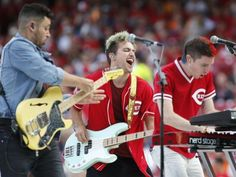 Walk the Moon to play National Anthem at PBS Monday. Photo: Walk the Moon performs ahead of the Home Run Derby, Monday, July 13, 2015, at Great American Ball Park in Cincinnati. The Enquirer/Kareem Elgazzar