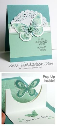 Watch my video tutorial to learn how to make this pop up card: http://juliedavison.blogspot.com/2015/06/video-pdf-half-circle-pop-up-card.html  Check out my blog for more Stampin' Up! project ideas: http://juliedavison.com