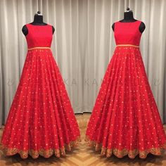 Beautiful red color designer floor length anarkali dress with hand embroidery gold thread and mirror work from Geethika Kanumilli. Long Anarkali Gown, Long Gown Dress, Saree Gown, Bridal Lehenga Choli, Sari, Long Frock, Long Dresses, Net Dresses, Indian Gowns Dresses