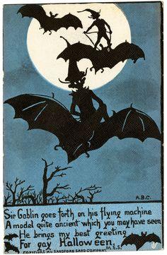 "RARE ""Sir Goblin on His Flying Machine"" Elves Ride Bats Halloween Postcard Vintage Halloween Images, Retro Halloween, Halloween Goodies, Halloween Pictures, Halloween Signs, Holidays Halloween, Spooky Halloween, Happy Halloween, Halloween Decorations"