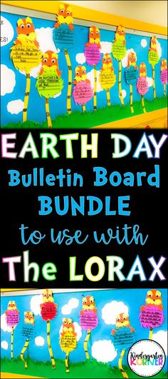 """Read more about how you can celebrate Earth Day in your k-4 classroom. After reading Dr. Seuss' The Lorax, have your students """"speak for the trees by creating persuasive writing pieces. This bulletin board bundle includes differentiated writing templates for beginner to advanced writers in kindergarten, first grade, second grade, and third grade. Bulletin board lettering and story maps are included as well... #lorax #earthday #persuasivewriting #kindergarten #bulletinboards #drseussbirthday"""
