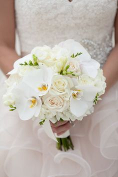 Gold & Navy Inspiration Shoot from Fabulously Chic Weddings + Jamie Lee Photography - Style Me Pretty White Orchid Bouquet, Orchid Bouquet Wedding, Small Wedding Bouquets, Rustic Wedding Flowers, Wedding Flower Arrangements, Bridesmaid Flowers, Bridal Flowers, Purple Wedding, Chic Wedding