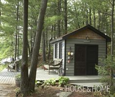 Colour pattern, green with dark accents for cottage and bunkie.
