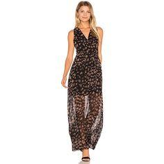 BCBGeneration Surplice Maxi Dress (435 BRL) ❤ liked on Polyvore featuring dresses, bcbgeneration dresses, cross front maxi dress, maxi dress, semi sheer dress and cross front dress