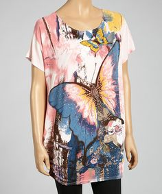 Another great find on #zulily! Pink & Peach Butterfly Linen-Blend Tunic by Pretty Angel #zulilyfinds