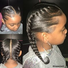 Neat French Braids By @theglamtech - http://community.blackhairinformation.com/hairstyle-gallery/kids-hairstyles/neat-french-braids-theglamtech/
