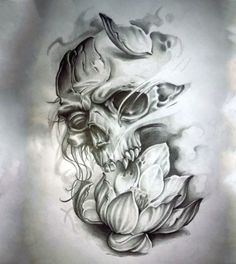 Popular Tattoos and Their Meanings Skull Rose Tattoos, Tribal Tattoos, Cool Tattoos, Skull Tattoo Design, Tattoo Designs, Skull Design, Tattoo Sketches, Tattoo Drawings, Tattoo Ideas