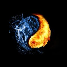 This water and fire background shown in a yin yang shape is very creative. It shows the opposite of yin and yang, and also the opposites of fire and water. Arte Yin Yang, Ying Y Yang, Yin Yang Art, Ying Yang Wallpaper, Black Wallpaper, Yin Yang Tattoos, Jin Y Jan, Yen Yang, Iphone 6 Wallpaper Backgrounds